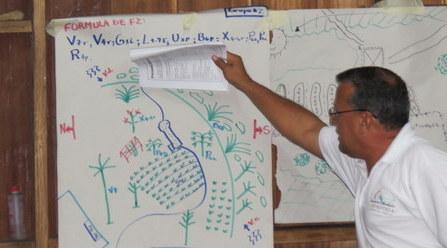 Présentation d'un nouveau design de foresterie analogue par l'un des participants.